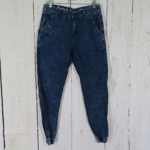 Publish Index Blue Cotton Joggers Elastic Hem W 30
